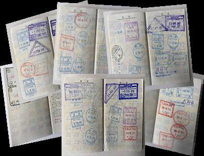 様々な国の渡航先が記されたパスポート画像2
